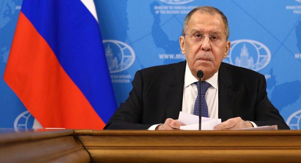 Sergei Lavrov, ministro das Relações Exteriores da Rússia, em grande coletiva de imprensa sobre os resultados de 2020