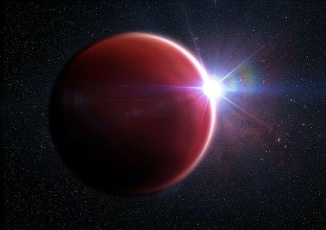 Ilustração artística do exoplaneta WASP-62b localizado a 575 anos-luz da Terra