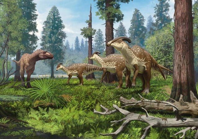 Reconstrução de um grupo de Parasaurolophus cyrtocristatus, ou parassaurolofos, confrontados há 75 milhões de anos por um tiranossauro nas florestas subtropicais do Novo México, EUA