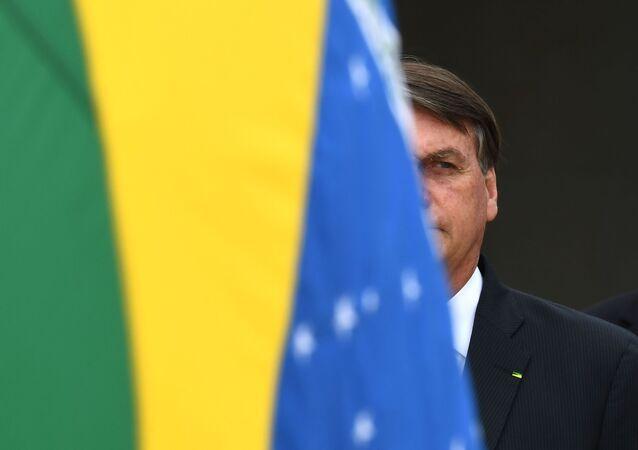 Presidente do Brasil, Jair Bolsonaro, cumpre agenda no Palácio do Planalto, em Brasília (foto de arquivo)