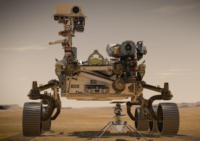 Ilustração da sonda Perseverance da NASA que, em breve, poderá ser lançada para buscar vida marciana