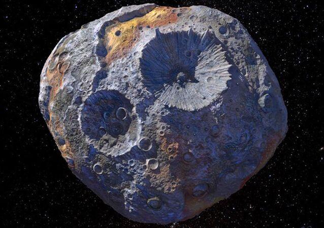 Asteroide 16 Psyche (representação artística)