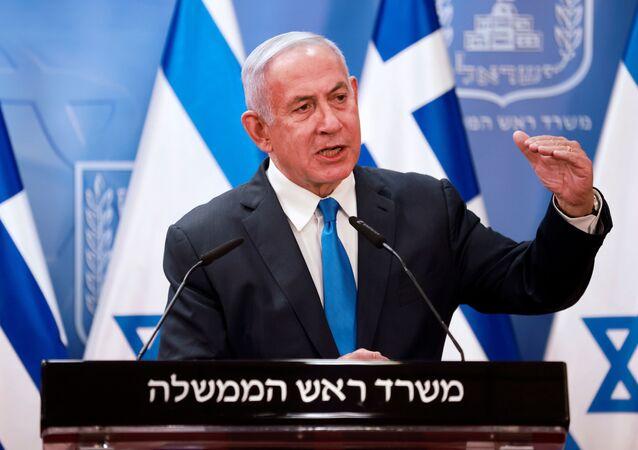 Primeiro-ministro de Israel, Benjamin Netanyahu, após reunião com seu homólogo grego, Kyriakos Mitsotakis, em Jerusalém, 8 de fevereiro de 2021