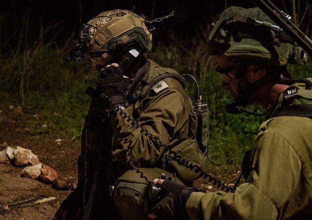Militares do Comando do Norte durante exercício militar na fronteira libanesa, 10 de fevereiro de 2021