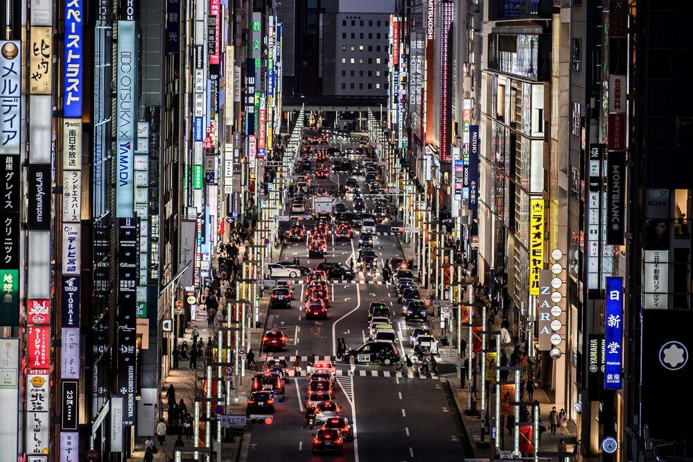 Vista geral da área de Ginza em Tóquio, Japão, 7 de fevereiro de 2021