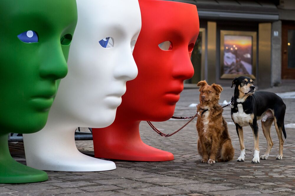 Dois cachorros aguardam seu dono perto de assentos de plástico representando rostos em cores de bandeira italiana, Itália, 9 de fevereiro de 2021