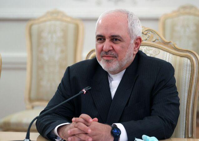 Mohammad Javad Zarif, ministro das Relações Exteriores do Irã, durante encontro com seu homólogo russo Sergei Lavrov em Moscou, Rússia