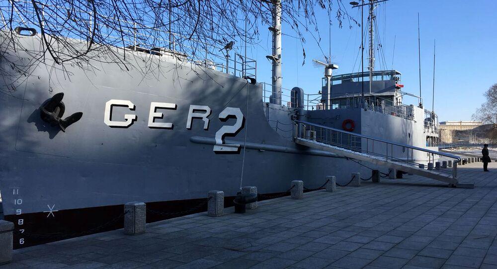 O navio norte-americano USS Pueblo, capturado pela Coreia do Norte em 1968 e convertido em museu