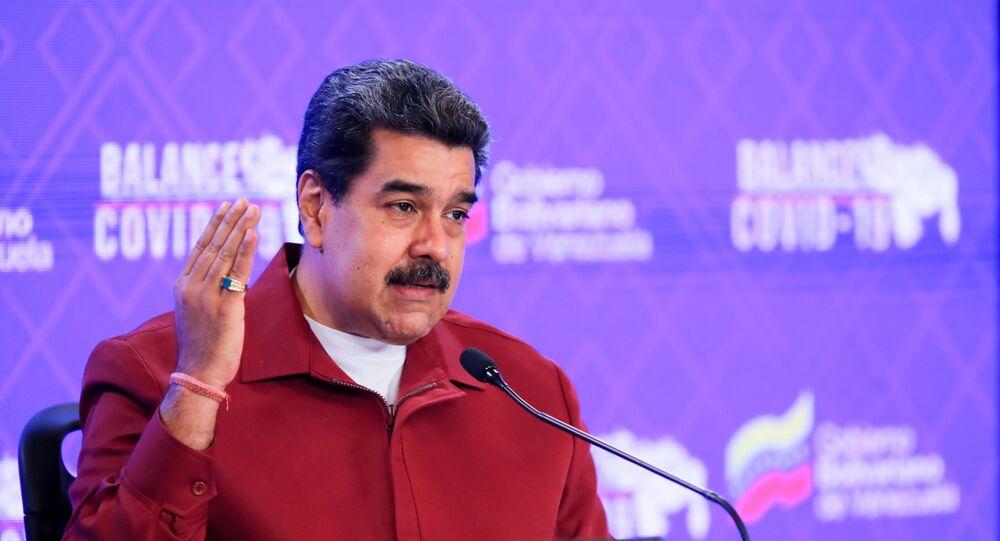 Presidente da Venezuela, Nicolás Maduro, em coletiva de imprensa no Palácio Miraflores, em Caracas