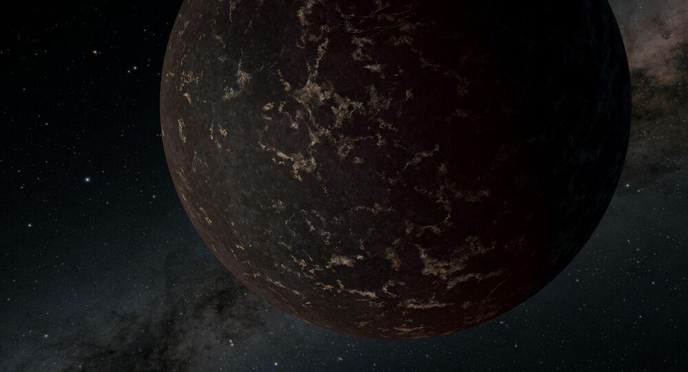 Representação artística do exoplaneta LHS 3844 b