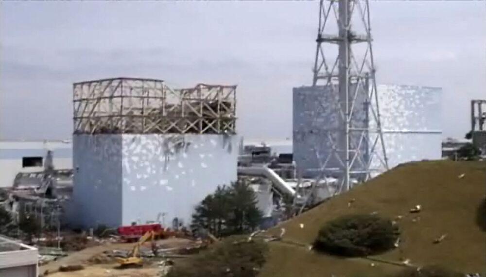 Reatores danificados da usina nuclear de Fukushima Daiichi, em Okuma, prefeitura de Fukushima, Japão, 6 de maio de 2011