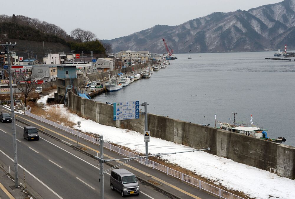 Costa da cidade de Miyako, prefeitura de Iwate, Japão, que foi danificada pelo tsunami de 2011, 18 de fevereiro de 2013