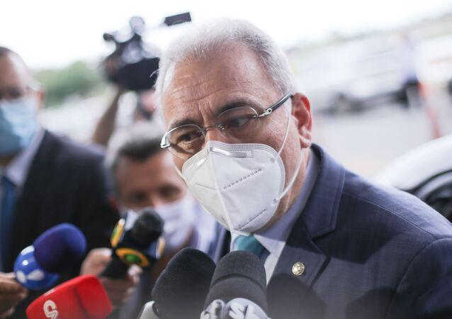 O novo ministro da Saúde, Marcelo Queiroga, chega ao Ministério da Saúde, em Brasília (DF), 15 de março de 2021