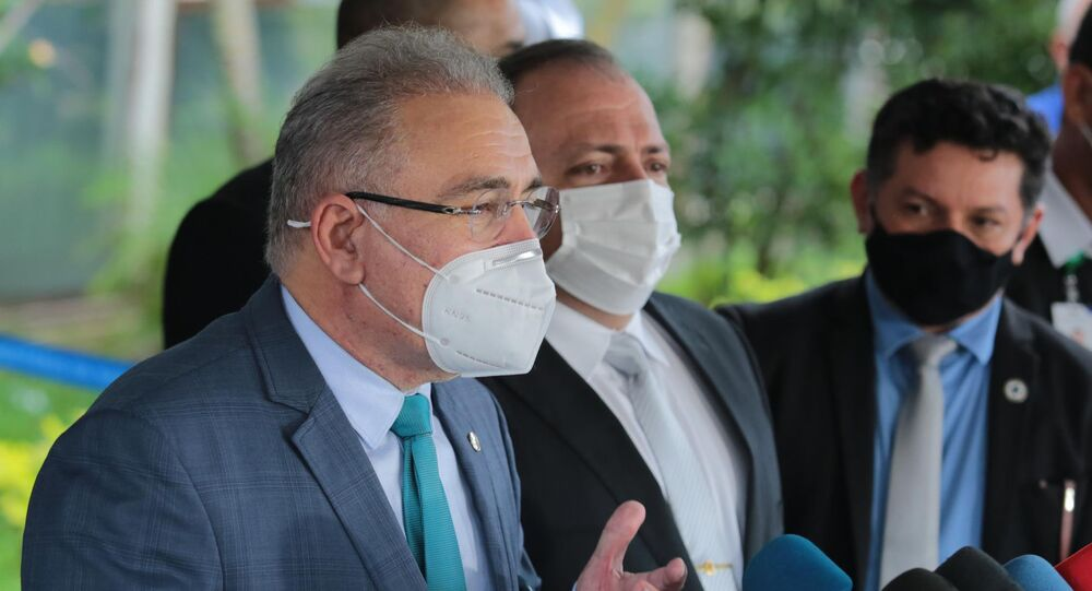 O novo ministro da saúde, Marcelo Queiroga, durante entrevista coletiva em Brasília (DF), no dia 16 de março de 2021