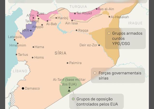 Posicionamento das forças na Síria passados 10 anos de conflito