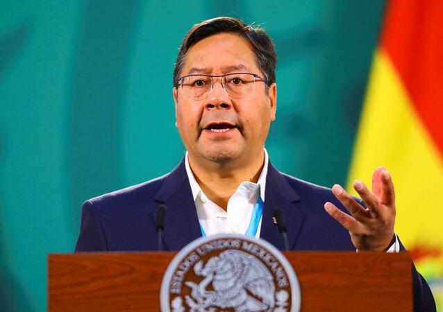 O presidente da Bolívia, Luis Arce, durante coletiva de imprensa no Palácio Nacional na Cidade do México