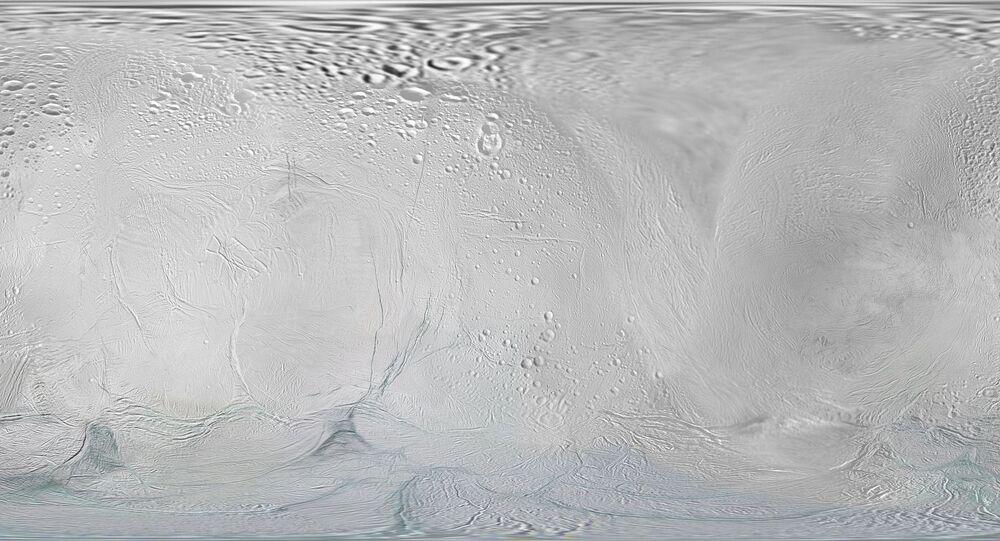 Encélado, lua de Saturno (ilustração)