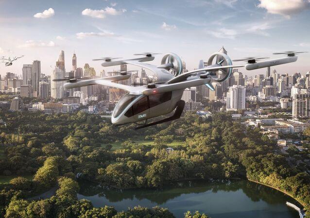 Arte conceitual do protótipo de carro voador elétrico da Embraer
