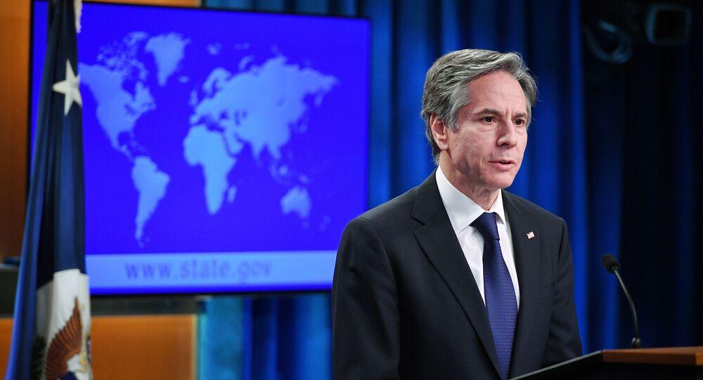 O secretário de Estado dos EUA, Antony Blinken, fala durante o lançamento dos relatórios de 2020 sobre práticas de Direitos Humanos no Departamento de Estado, em Washington, DC, EUA, 30 de março de 2021