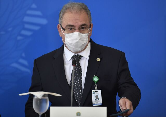 Em Brasília, o ministro da Saúde, Marcelo Queiroga, participa de entrevista coletiva, em 31 de março de 2021