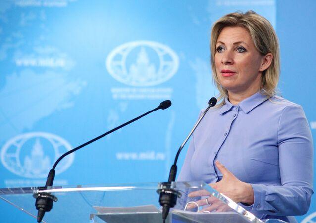 Maria Zakharova, representante oficial do Ministério das Relações Exteriores da Rússia, durante briefing em Moscou, Rússia