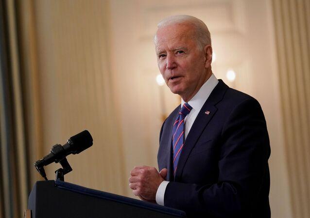 Presidente dos Estados Unidos, Joe Biden, na Casa Branca, em Washington, no dia 2 de abril de 2021