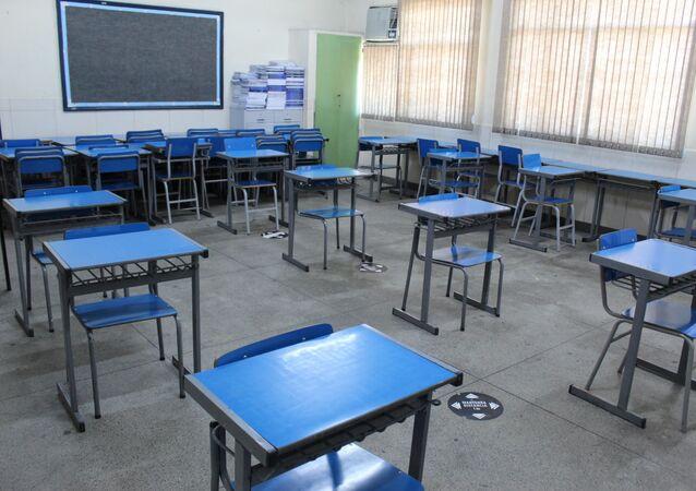 Sala de aula da escola municipal João de Camargo, em São Cristóvão, no Rio de Janeiro, no dia 3 de março de 2021