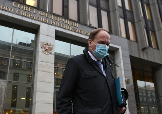 Anatoly Antonov, embaixador russo nos EUA, após reunião com parlamentares em Moscou, Rússia, sobre atual estado das relações bilaterais