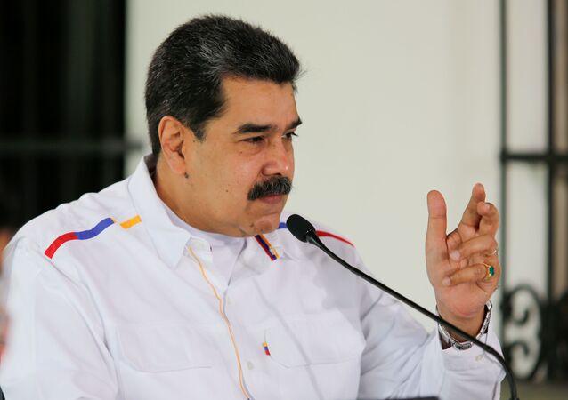 Nicolás Maduro, presidente da Venezuela, gesticula durante discurso em Caracas, Venezuela, 28 de março de 2021