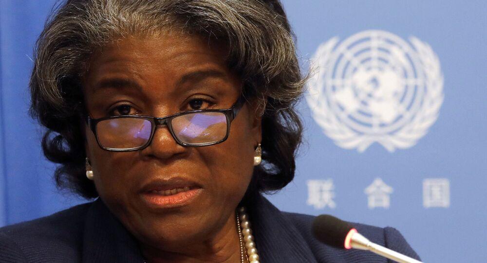 A nova embaixadora dos EUA nas Nações Unidas, Linda Thomas-Greenfield, dá uma coletiva de imprensa em Nova York, em 1º de março de 2021