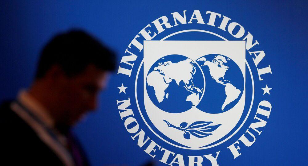 Logotipo do Fundo Monetário Internacional (FMI), em foto de 12 de outubro de 2018