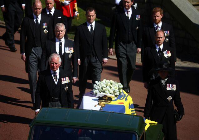 Membros da família real no funeral do príncipe Philip, no Castelo de Windsor, em 17 de abril de 2021