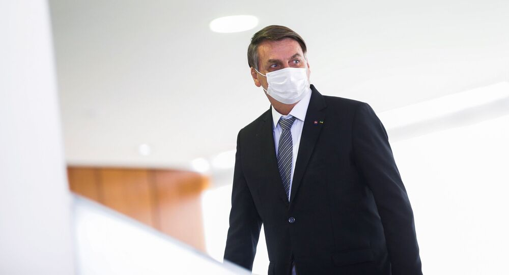 Presidente do Brasil, Jair Bolsonaro, no Palácio de Planalto em Brasilia, Brasil, 8 de abril de 2021