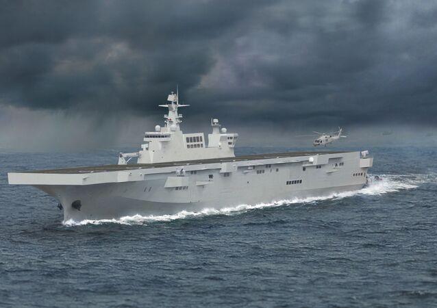 Representação artística do navio de assalto anfíbio Type 075 Hainan