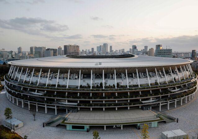 O Estádio Nacional de Tóquio, a principal arena dos Jogos Olímpicos e Paralímpicos, em foto de 18 de março de 2021
