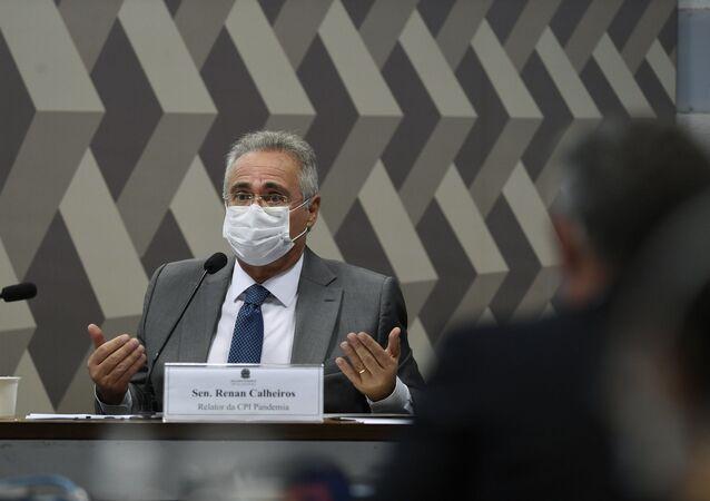 O senador Renan Calheiros (MDB-AL) durante sessão da CPI da Covid