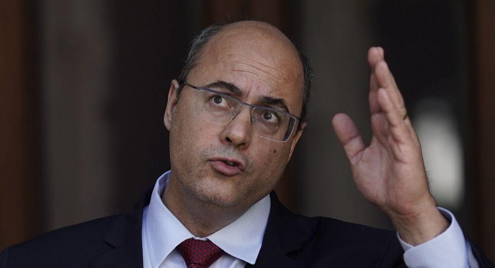 Wilson Witzel em pronunciamento após ter sido removido do gabinete de governador do estado do Rio de Janeiro por acusações de corrupção, no Palácio de Laranjeiras, no Rio de Janeiro, no dia 28 de agosto de 2020