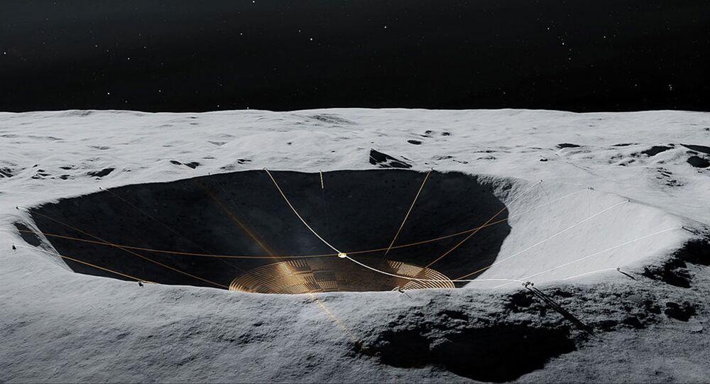 Conceito do Radiotelescópio da Cratera Lunar  no lado oculto da Lua