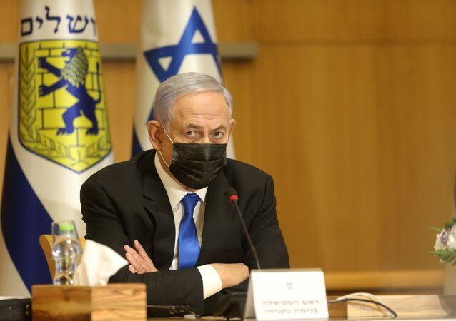 Ex-primeiro-ministro israelense Benjamin Netanyahu participa de uma reunião de gabinete especial por ocasião do Dia de Jerusalém, em Jerusalém, 9 de maio de 2021.