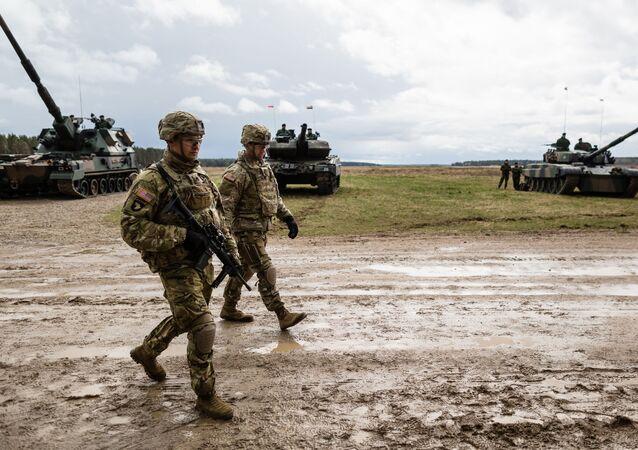 Soldados dos EUA em um exercício de treinamento da OTAN na Polônia