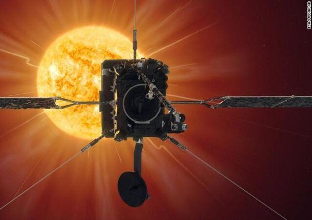 Representação artística da sonda Solar Orbiter