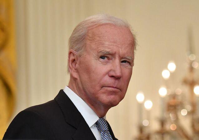 Presidente dos EUA, Joe Biden, durante conferência de imprensa na Casa Branca, Washington, EUA, 17 de maio de 2021