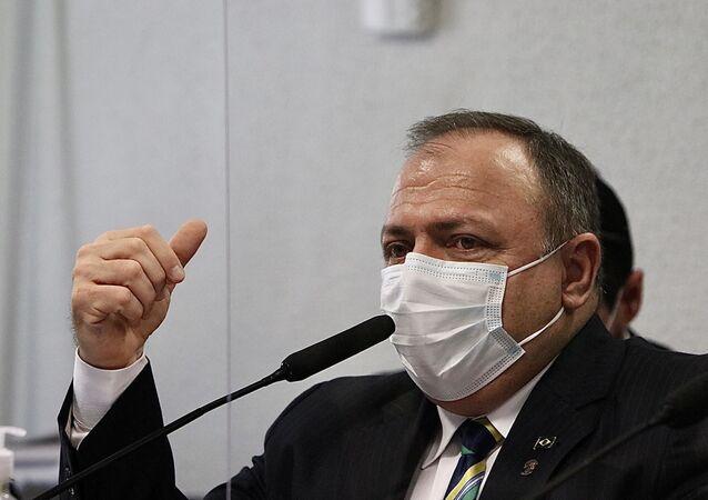 O ex-Ministro da Saúde, Eduardo Pazuello, depõe na CPI da Covid no Senado Federal em Brasília (DF), nesta quarta-feira (19)