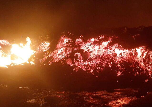 Erupção do vulcão Nyiragongo, na República Democrática do Congo