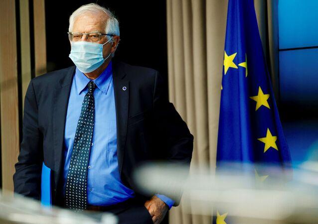 Josep Borrell, alto representante da política externa da União Europeia, chega a coletiva de imprensa em Bruxelas, Bélgica, 10 de maio de 2021