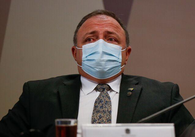 Em Brasília, o ex-ministro da Saúde, Eduardo Pazuello, participa de depoimento na CPI da Covid no Senado Federal, em 20 de maio de 2021