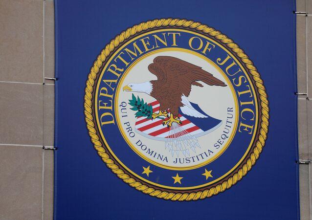 Símbolo do Departamento de Justiça dos EUA em sua sede em Washington, EUA, 10 de maio de 2021