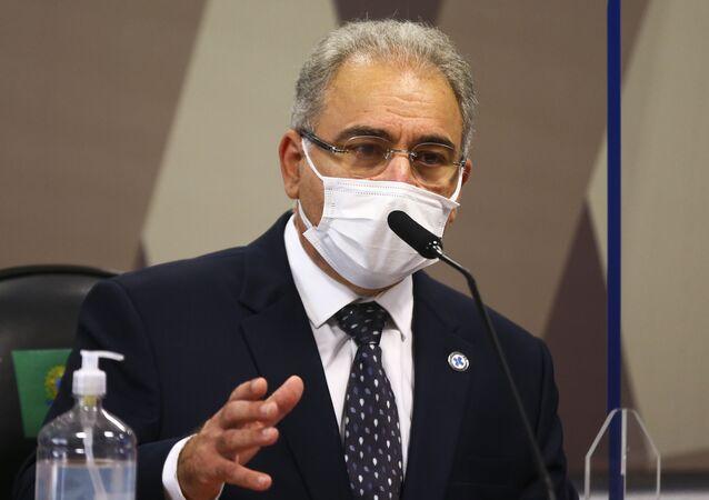 O ministro da Saúde, Marcelo Queiroga, é ouvido novamente durante sessão da CPI da Pandemia, no Senado, 8 de junho de 2021