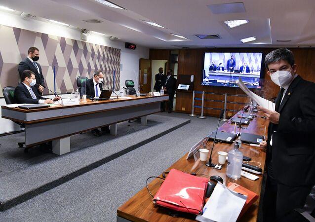 Senadores durante a CPI da Covid, Brasília, 15 de junho de 2021