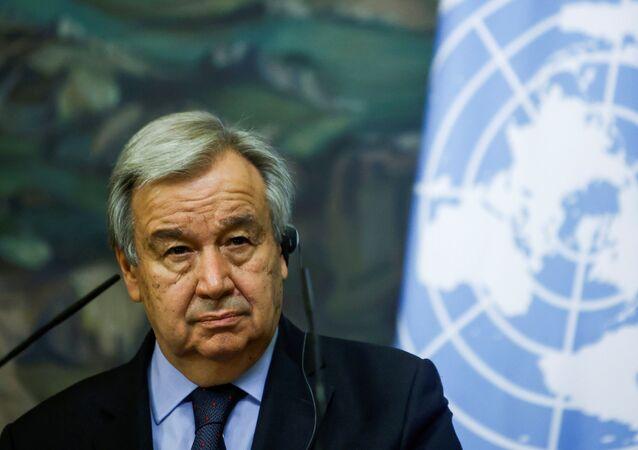 António Guterres, secretário-geral da ONU, participa de coletiva de imprensa em Moscou, Rússia, 12 de maio de 2021